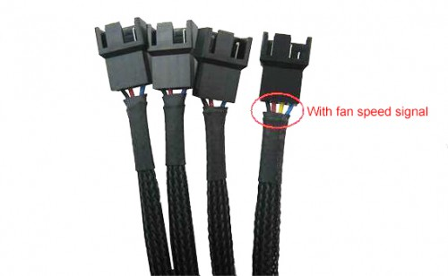 Cable can power one fan (right) plus three others (left)